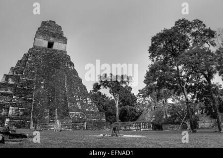 HDR Photograph Of Temple 1 In Tikal's Central Plaza - Stock Photo