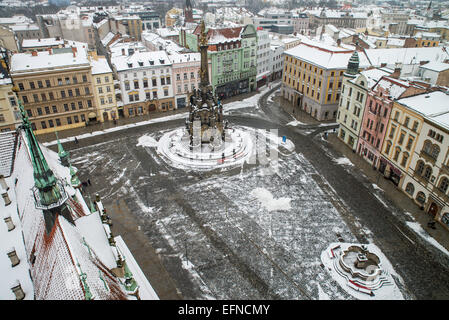 Holy Trinity Column UNESCO World Heritage Site main square Olomouc in winter, North Moravia Czech Republic Europe - Stock Photo