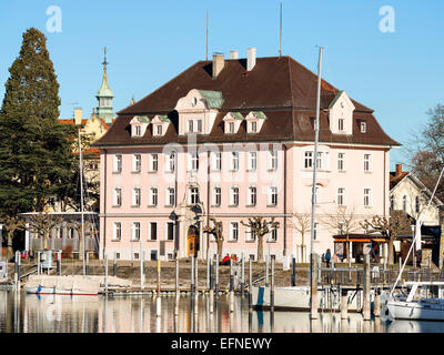 Historic building at the harbour of Lindau, lake constance, Germany - Stock Photo