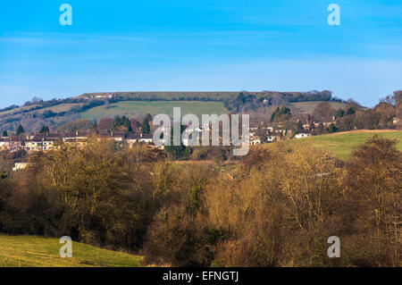 View of the flat topped former Iron Age fortress at Little Solsbury Hill, Batheaston, Somerset, England, UK - Stock Photo
