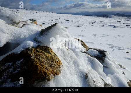 Cadir Idris during winter in the snow - Stock Photo