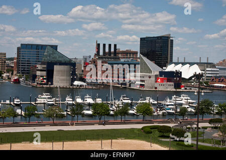 Baltimore, Maryland, USA, the Inner Harbor from Federal Hill, showing the National Aquarium at Baltimore, Historic - Stock Photo
