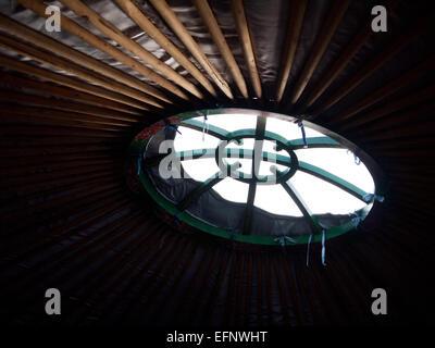 Mongolian Yurt, tent, Llangollen, Wales, United Kingdom - Stock Photo