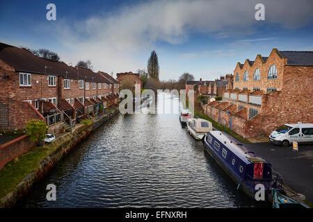 Stockton Heath civil parish suburb of Warrington, Cheshire, England UK . Housing on the Bridgewater Canal - Stock Photo