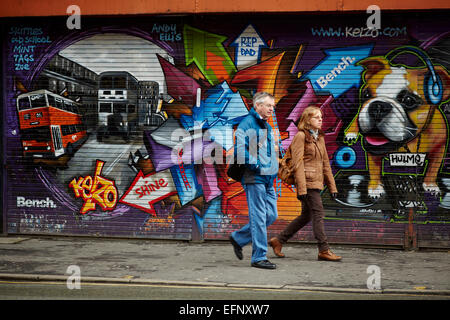 Northern Quarter Manchester Uk. Graffiti by Manchester artist Kelzo in the Stevenson Square area - Stock Photo