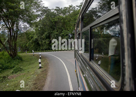 view from the window of a moving bus - Stock Photo
