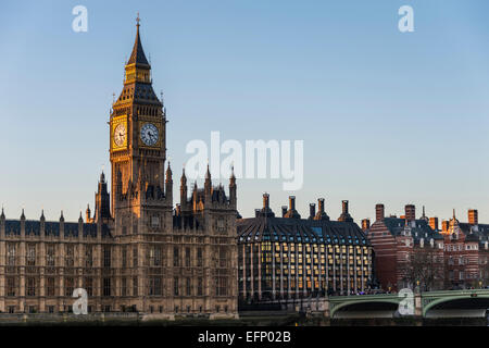 The Elizabeth Tower of the Houses of Parliament of the UK is also known as Big Ben, the nickname for the great bell of the clock Stock Photo