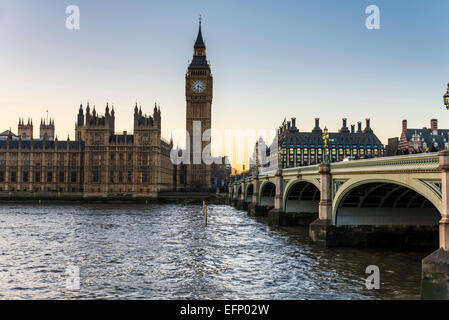 The Elizabeth Tower of the Houses of Parliament of the UK is also known as Big Ben, the nickname for the great bell - Stock Photo