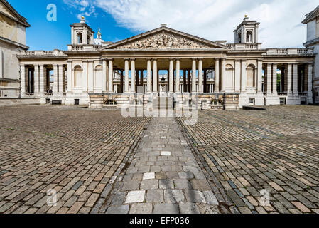 The Nelson pediment at the Old Royal Naval College in Greenwich London in the King William Court - Stock Photo