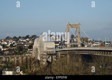 Royal Albert Rail Bridge and Tamar Road Bridge over the River Tamar between Devon and Cornwall.  Viewed from St - Stock Photo