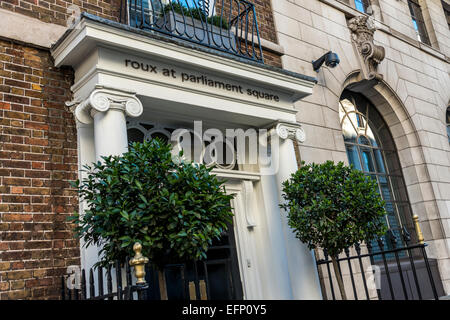 The entrance to fine dining restaurant Roux at Parliament Square, a restaurant by Michel Roux Jnr - Stock Photo