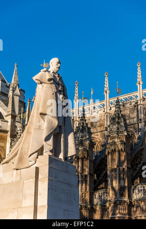 The statue of George V in Old Palace Yard, Westminster, London, is a sculpture of George V, King of the United Kingdom. - Stock Photo