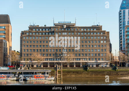 The old London Fire Brigade Headquarters was the HQ of the LBF until 2007 and is located on Albert Embankment in - Stock Photo