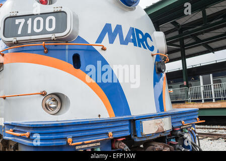 BALTIMORE, Maryland - A modern MARC train on display at the B&O Railroad Museum. The B&O Railroad Museum in Mount - Stock Photo