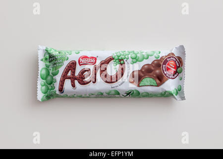 An Aero Peppermint chocolate bar, produced by Nestlé. Canadian packaging shown. - Stock Photo