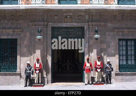 Guards standing at the entrance of the Palace of Government or Presidential Palace in La Paz, Bolivia - Stock Photo