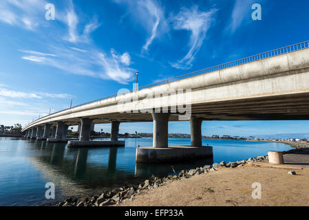 Clouds over the West Mission Bay Drive Bridge.  San Diego, California, United States. - Stock Photo