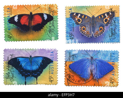 Collection of Butterfly Stamps, Australia - Stock Photo