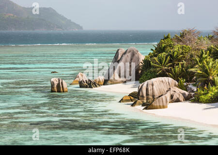 High angle view of the famous Anse Source D'Argent in La Digue, Seychelles - Stock Photo