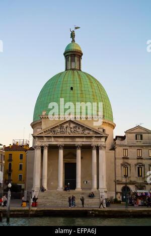 San Simeone Piccolo church, Grand Canal, Santa Croce, Venice, Italy - Stock Photo