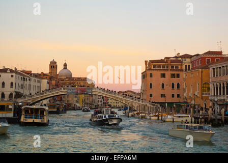Grand Canal, in front of Santa Lucia railway station, Cannaregio, Venice, Italy - Stock Photo