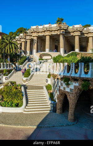 Main entrance of Park Guell or Parc Guell, Barcelona, Catalonia, Spain - Stock Photo