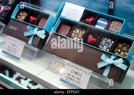 Valentine's Chocolate on display on February 9, 2015, Tokyo, Japan : Chocolates on display in Valentine Fair at - Stock Photo
