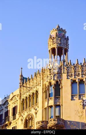 Detail. Casa Lleo Morera designed by Domenech Montaner architect. Passeig de Gracia, Barcelona, Catalonia, Spain. - Stock Photo