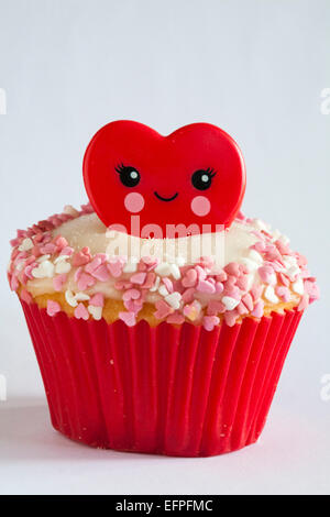 Valentine red ring cupcake isolated on white background - ideal for valentines day, valentine day - Stock Photo