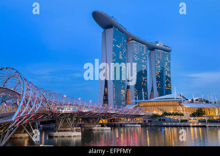 Marina Bay at night, Singapore, Southeast Asia, Asia - Stock Photo