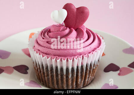 ... Marks U0026 Spencer Sweet Heart Cupcake On Hearts Plate Set On Pink  Background   Ideal For