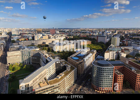 Elevated view, Hi-Flyer over Leipziger Strasse to Stresemannstrasse area, from Panoramapunkt, Potsdamer Platz, Berlin, - Stock Photo