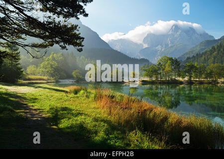 Lake Jasna and Julian Alps, Kranjska Gora, Slovenia, Europe - Stock Photo