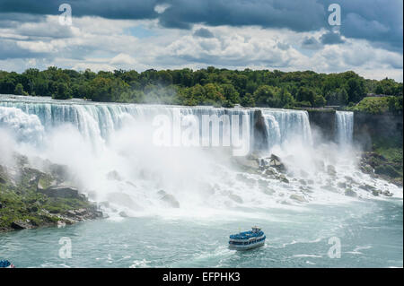 View over the American Falls part of the Niagara Falls, Ontario, Canada, North America - Stock Photo