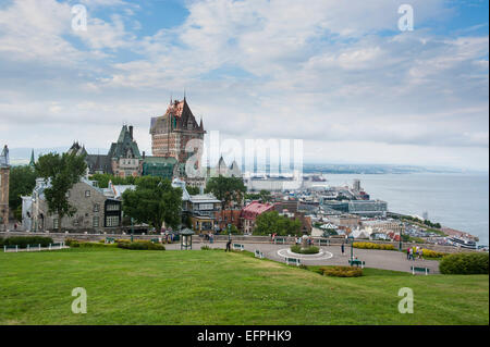 View from the fortifications over Quebec City and the Chateau Frontenac, Quebec, Canada, North America - Stock Photo