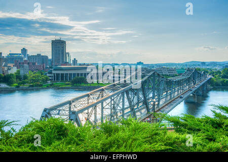 View from Alexander Bridge from Nepean Point, Ottawa, Ontario, Canada, North America - Stock Photo