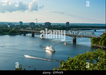 View over the Ottawa River and the Alexander Bridge, Ottawa, Ontario, Canada, North America - Stock Photo