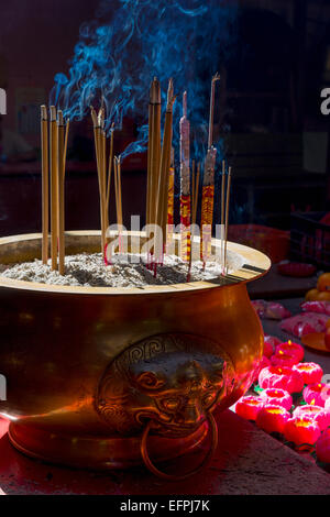 Incense sticks burning, Sin Sze Si Ya Temple (Sze Yah Temple), China Town, Kuala Lumpur, Malaysia, Southeast Asia, - Stock Photo