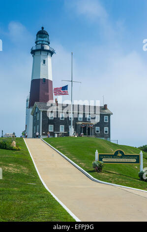Montauk Point Lighthouse, Montauk Point State Park, the Hamptons, Long Island, New York State, United States of - Stock Photo