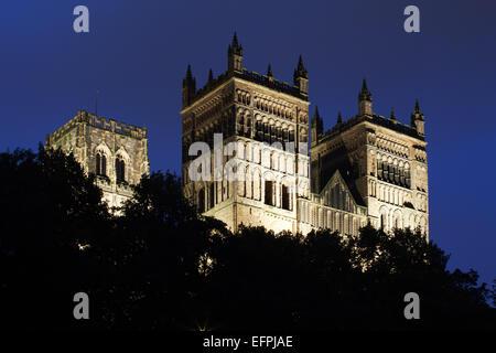 Durham Cathedral floodlit at dusk, UNESCO World Heritage Site, Durham, County Durham, England, United Kingdom, Europe - Stock Photo