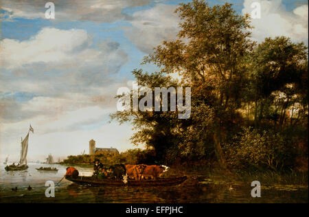 River Landscape with Ferry 1664  Salomon van  Ruysdael  1600 - 1670 Dutch Netherlands - Stock Photo
