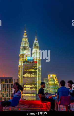 Helipad Bar and Petronas Towers, Kuala Lumpur, Malaysia, Southeast Asia, Asia - Stock Photo