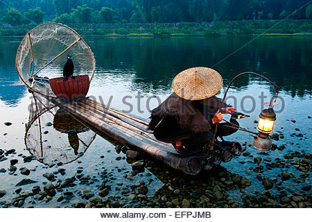 Cormorant fisherman with his pet birds on bamboo raft in shallow water in the countryside of Li River, Yangshuo, - Stock Photo
