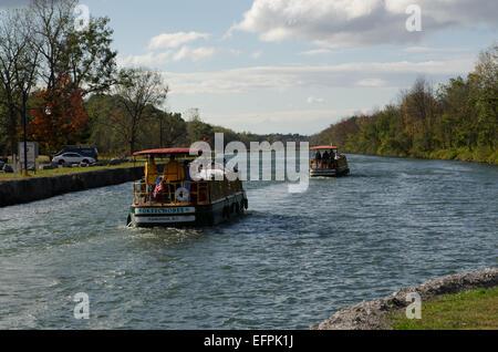 Two Packet boats heading west toward Buffalo New York - Stock Photo