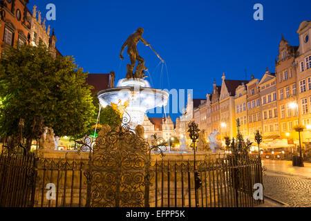 Neptunes fountain at night, Gdansk, Poland - Stock Photo