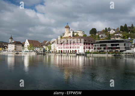 View over the Rhine to the old town with the Munot fortress, Canton of Schaffhausen, Canton of Schaffhausen, Switzerland - Stock Photo