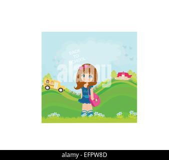 little girl going to school - Stock Photo