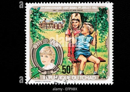 Republic of Chad issued postal stamps for the 21st anniversary of Lady Diana. Republic of Chad is in Central Africa. - Stock Photo