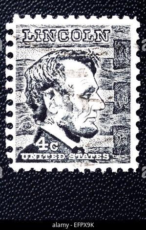 Abraham Lincoln Postage stamp USA 1965 - Stock Photo
