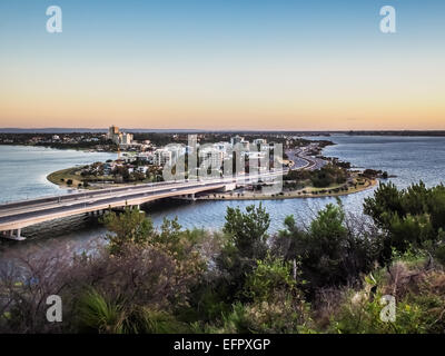 South Perth Peninsula and narrows bridge over the Swan River, Western Australia - Stock Photo